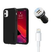 iPhone 11 Bundle with Incipio Dual Pro Case – Dual USB Car Charger and Apple Lightning Cable