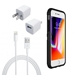 iPhone 8/7/6S/6 Bundle with Speck Presidio Grip Case - Apple OEM Wall Charger, and Lightning Cable - iPhn7/8speckbundlewall