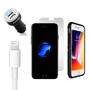 iPhone 8/7/6S/6 Bundle with Speck Presidio Grip Case - Dual USB Vehicle Charger, Lightning Cable and Screen Protector