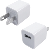 USB Cable Power Adapter (Wall Charger Adaptor with fixed blades) - White