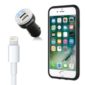 iPhone 8/7/6S/6/SE Bundle with Incipio Dual Pro Case - Dual USB Vehicle Charger, OEM Quality Lightning Cable