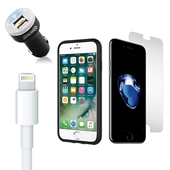 iPhone 8/7/6S/6/SE Bundle with Incipio Dual Pro Case - Dual USB Vehicle Charger - OEM Quality Lightning Cable and Tempered Glass Screen Protector