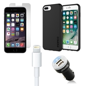 iPhone 8/7/6S/6 Plus Bundle with Incipio DualPro Case and Dual USB Vehicle Charger, OEM Quality Lightning Cable and Screen Protector *Larger iPhone*