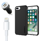 iPhone 8/7 Plus Bundle with Incipio Dual Pro Case and Dual USB Vehicle Charger and OEM Quality Lightning Cable *Larger iPhone*