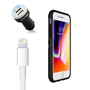 iPhone 8/7/6S/6 Bundle with Speck Presidio Grip Case - Dual USB Vehicle Charger, OEM Quality Lightning Cable