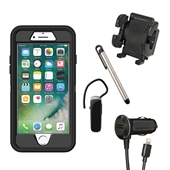 iPhone 8/7/6S/6 Plus Otterbox Defender Rugged Case Bundle - Black - *Larger iPhone*